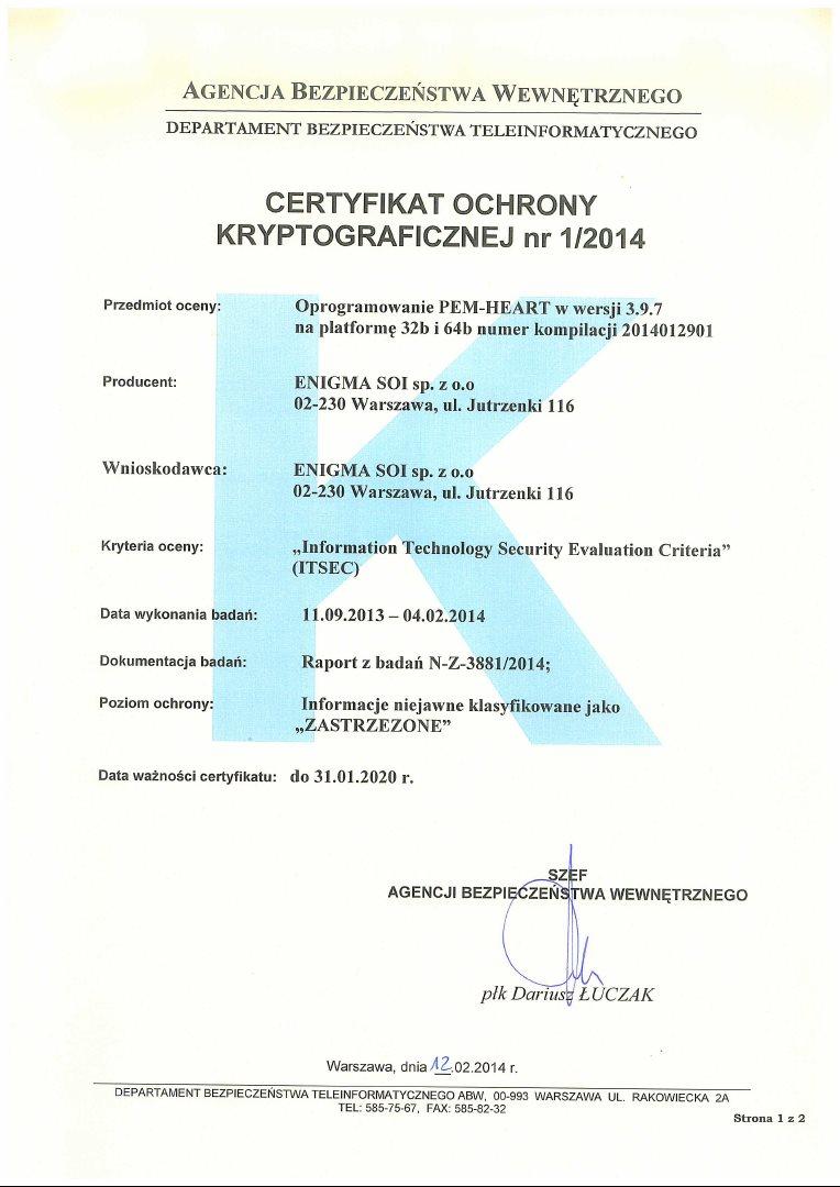 2014-02-12_Certyfikat PEM-HEART 3.9.7_32_64 bit