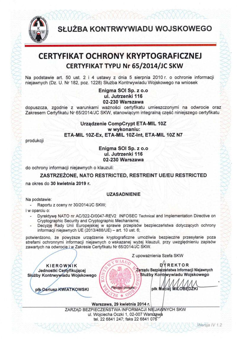 ETA-MIL 10Z certyfikat